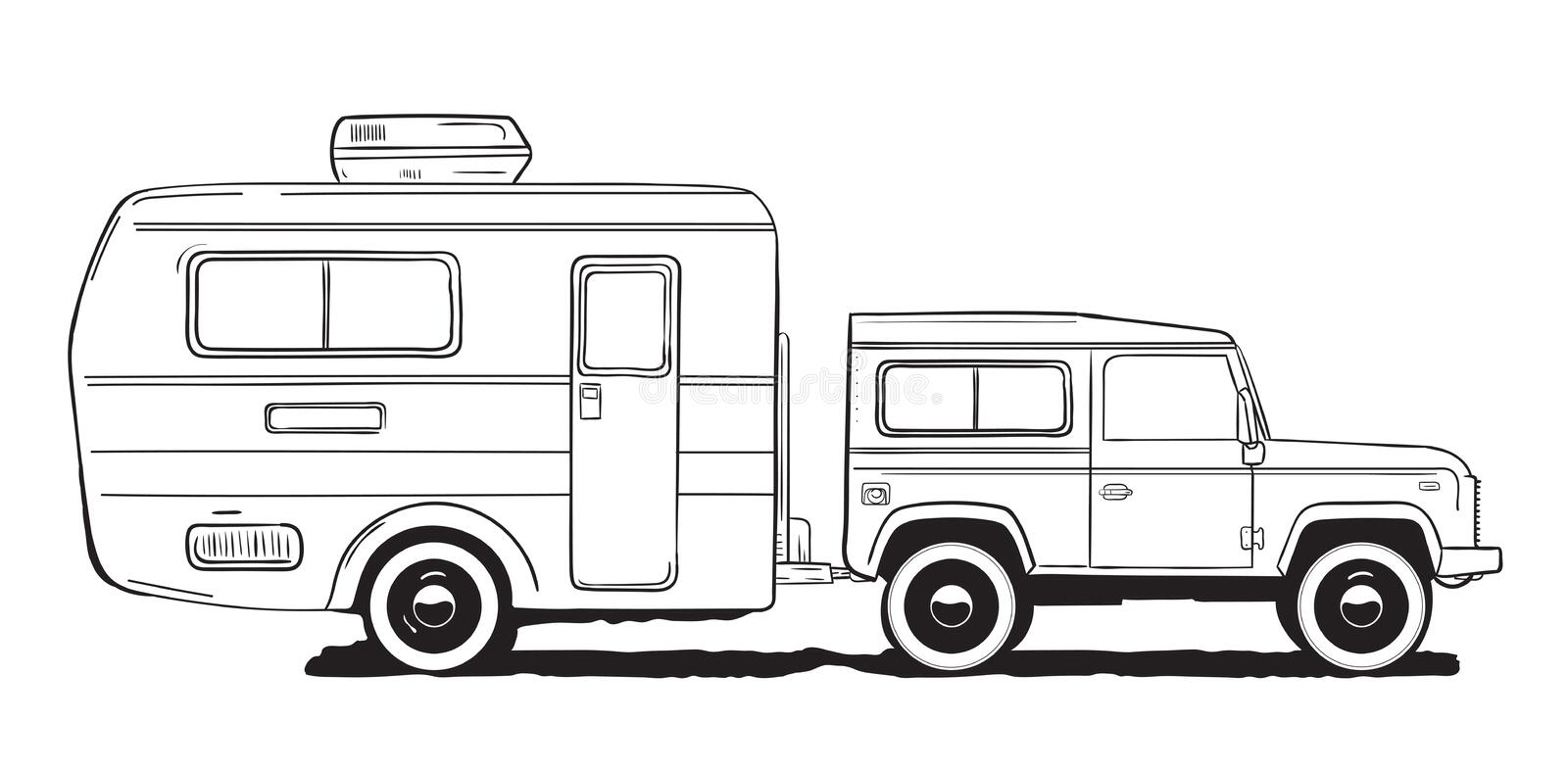 Download Camping Caravan Motorhome Amper Car With Trailer Black And White Hand Drawn