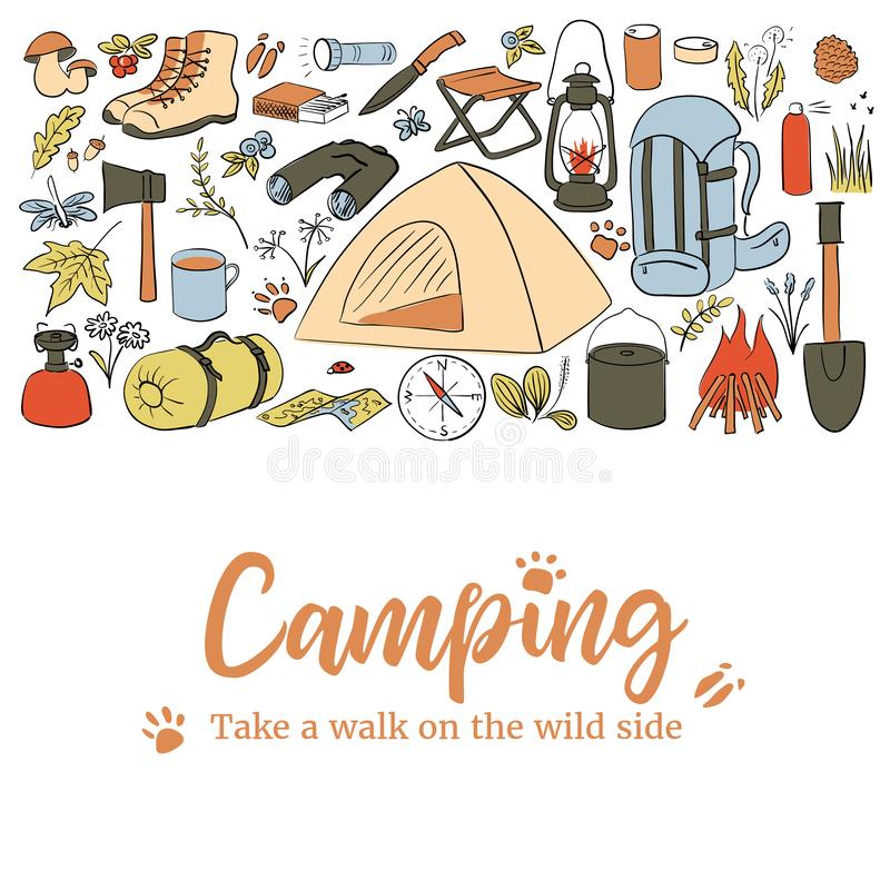 Camping card template. Take a walk on the wild side. Hiking icons colored sketch style set. vector collection. frame on royalty free illustration