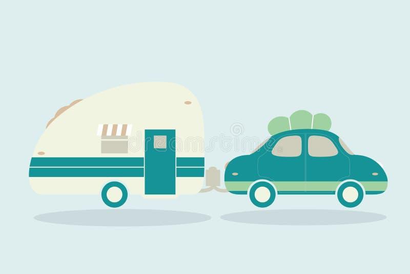 Camping-cars de vintage pour toute la famille. Voiture avec l'illustrati de remorque illustration stock
