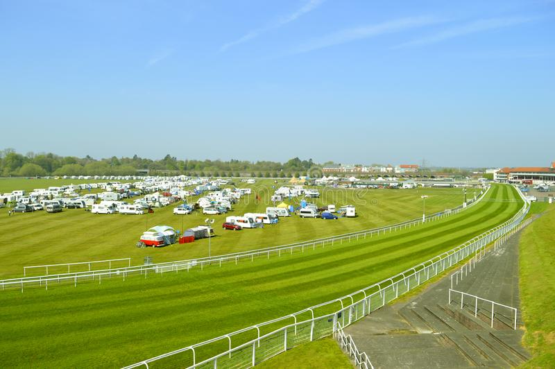 Camping in Chester racecourse. The oldest racecourse still in use in England stock photos