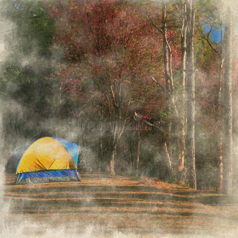Camping in Chiang mai, Thailand. Digital Art watercolor on vintage paper created by Photographer. royalty free stock photo