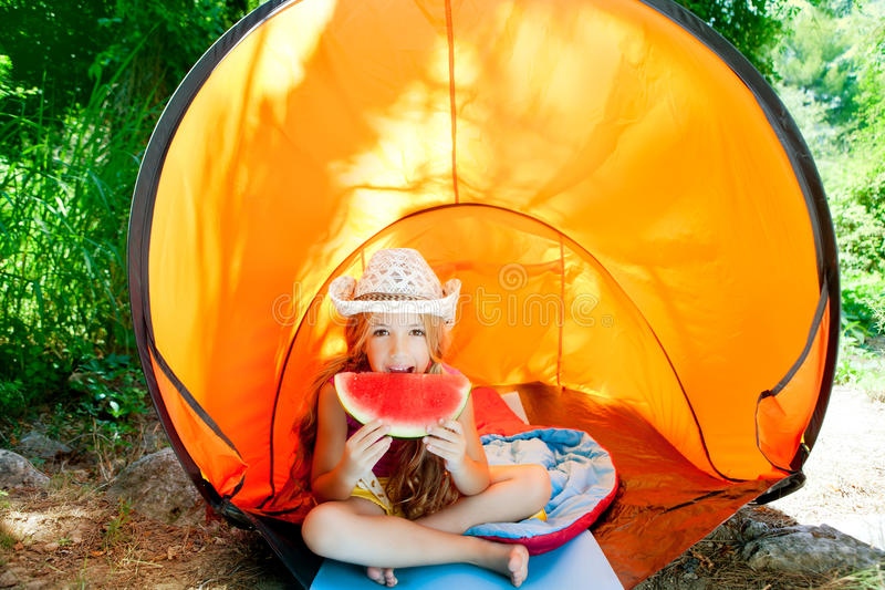Camping children girl in tent royalty free stock photo