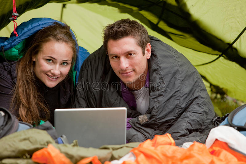 Camping with Computer stock photos
