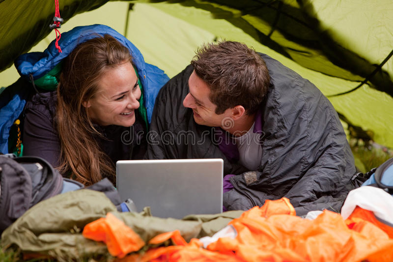 Camping with Computer stock photography