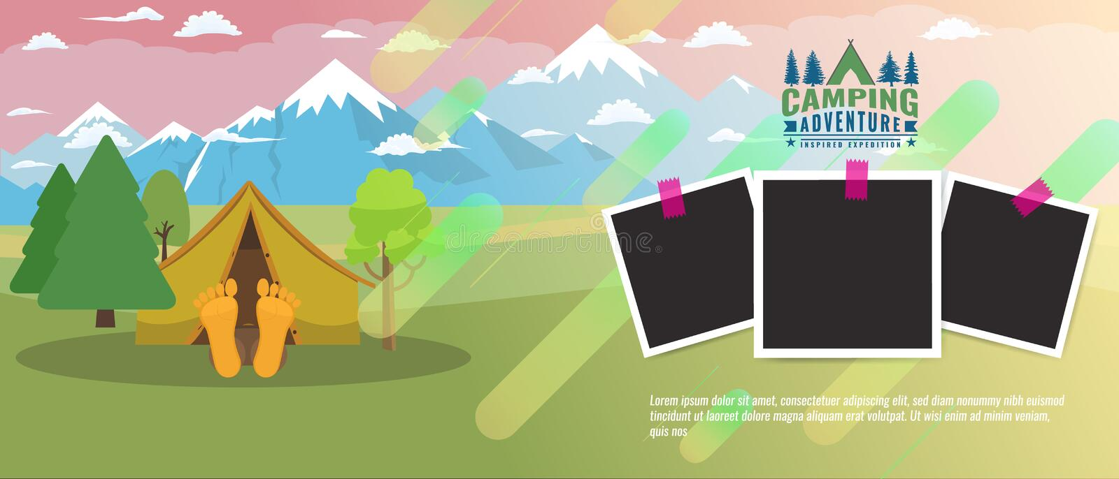 Camping concept flat horizontal banner. Tourism advertisement layout with photo frames. Vector illustration vector illustration