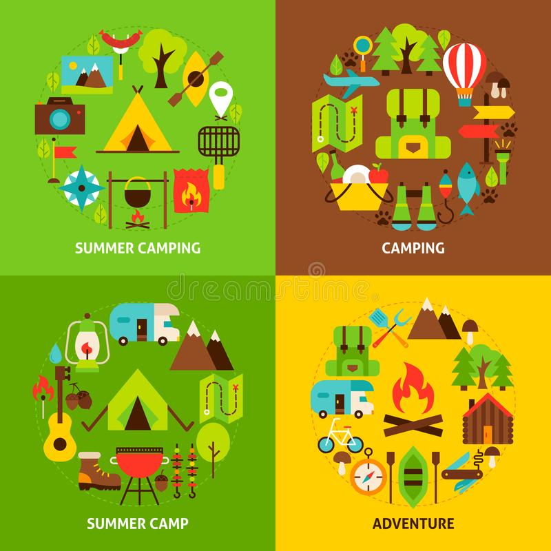 Camping Concepts Set. Poster Design Vector Illustration. Collection of Camp Objects royalty free illustration