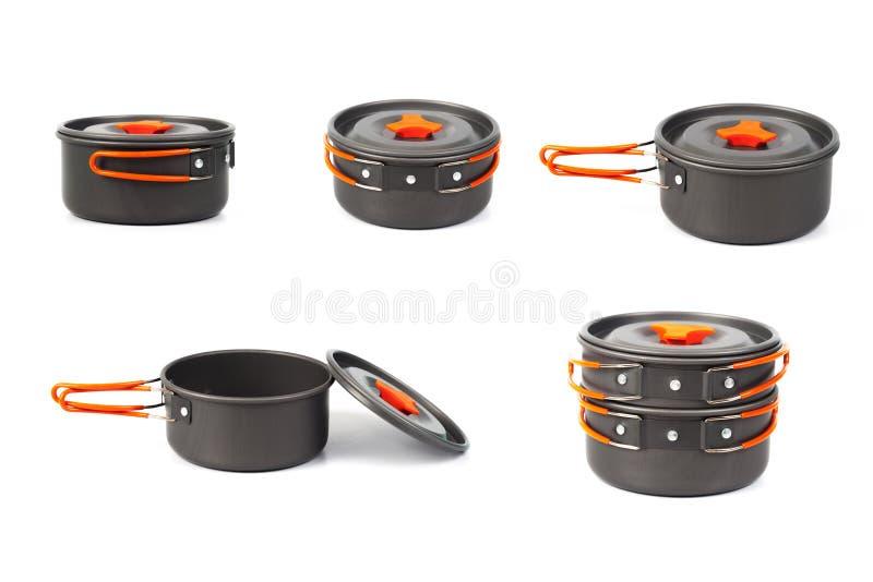 camping cooking pan or pot on white royalty free stock image