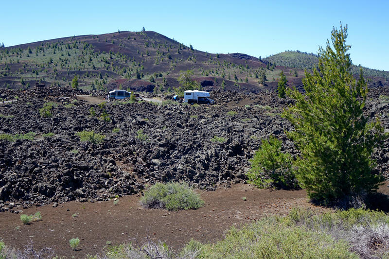 Camping at Craters of the Moon. This is truly roughing-it camping at Crater's of the Moon National Monument in Idaho royalty free stock images