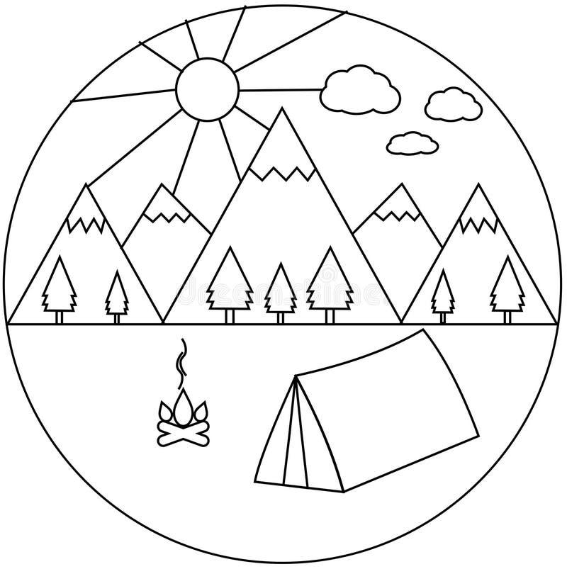 Camping dans les montagnes - illustration simple illustration libre de droits