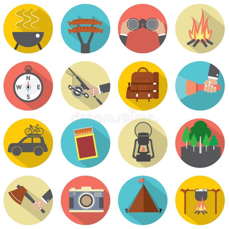 Camping de conception et ensemble plats modernes d'icône d'activité en plein air illustration de vecteur