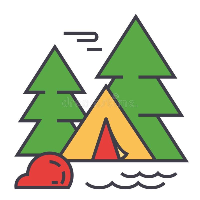 Camping de forêt, tente de touristes, concept d'aventure de voyage illustration de vecteur