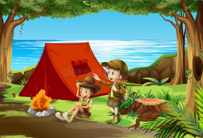 Camping de garçon et de fille scout en nature illustration de vecteur