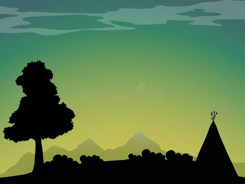 Camping de silhouette au crépuscule illustration libre de droits