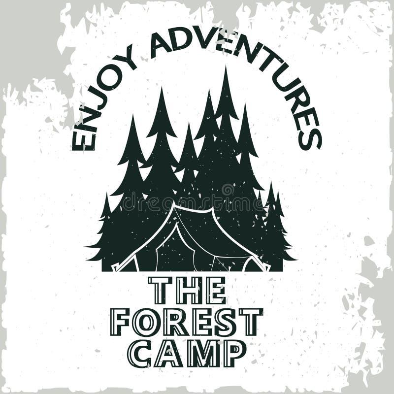 Camping de vintage ou logo de tourisme illustration de vecteur