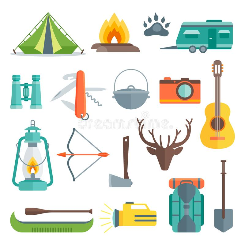 Camping Decorative Flat Icons Set. With tent bonfire flashlight backpack shovel guitar antlers boat isolated vector illustration royalty free illustration