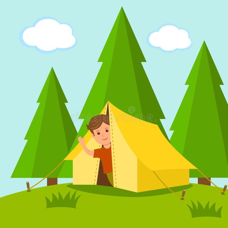 camping El viajero del muchacho mira fuera de la tienda en el medio de un bosque el concepto de vacaciones de verano al aire libr stock de ilustración