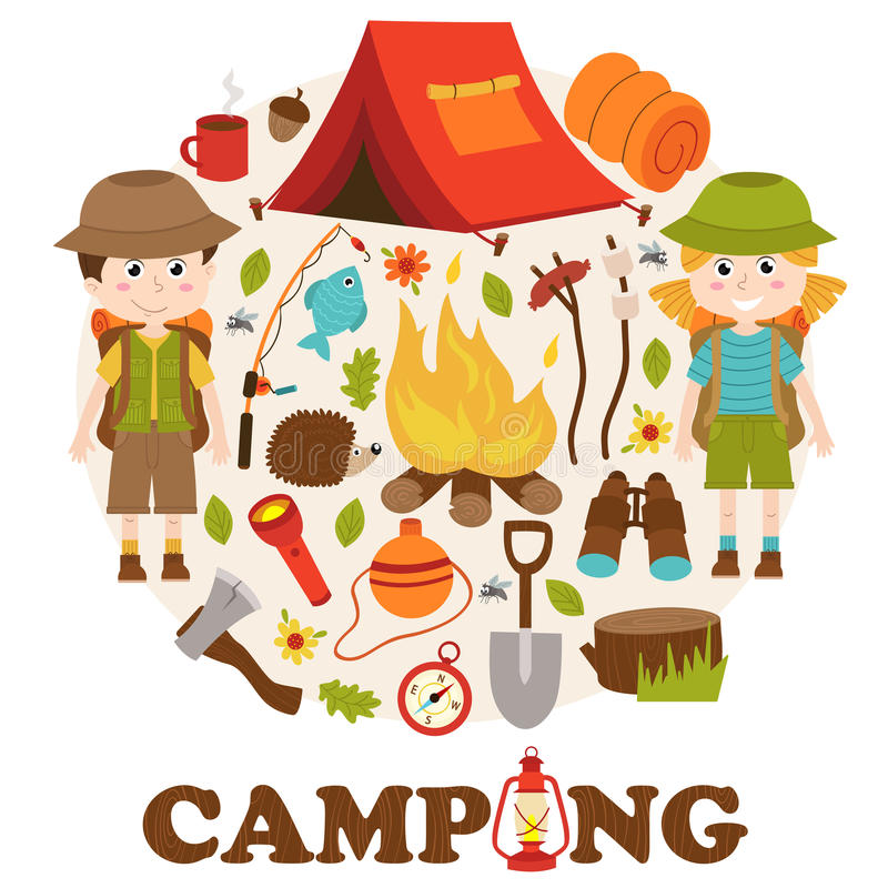 Camping elements and characters stock illustration