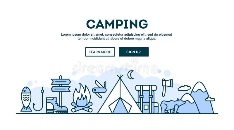 Camping, en-tête de concept, ligne style mince de conception plate illustration libre de droits