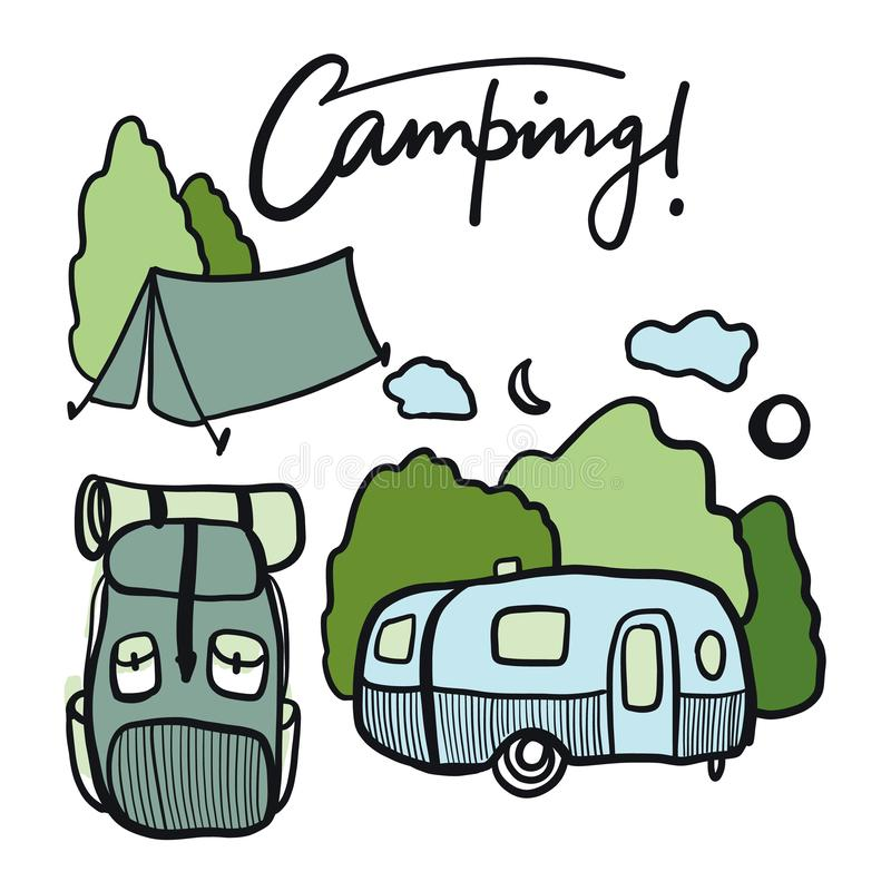 Camping equipment hand drawn vector collection set. vector illustration