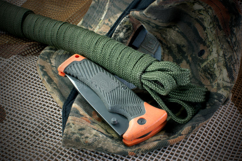 Camping Equipment. With the knife, rope, rope, hiking, trekking royalty free stock images