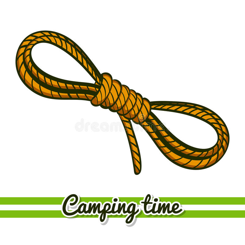 Camping Equipment Rope. Hand drawn rope isolated on white background. One image of series Camping time. Vector illustration royalty free illustration