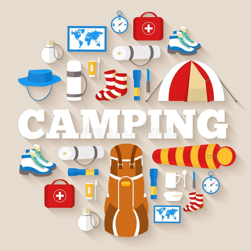 Camping equipment set circle infographics template concept. Icons for your product or design. Vector flat with long shadow stock illustration