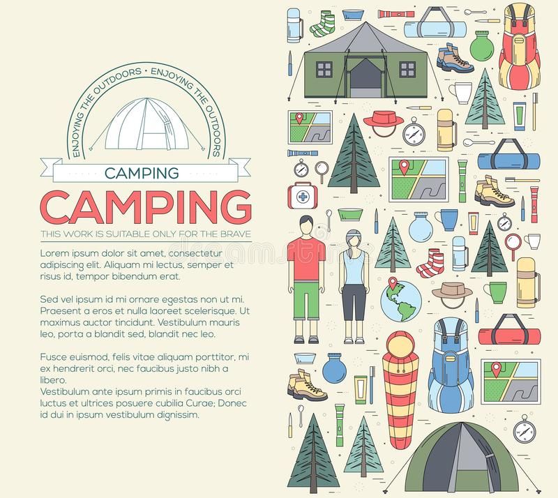 Camping equipment set infographics template concept. Icons for your product or design, web and mobile applications. Vector flat i royalty free stock photo