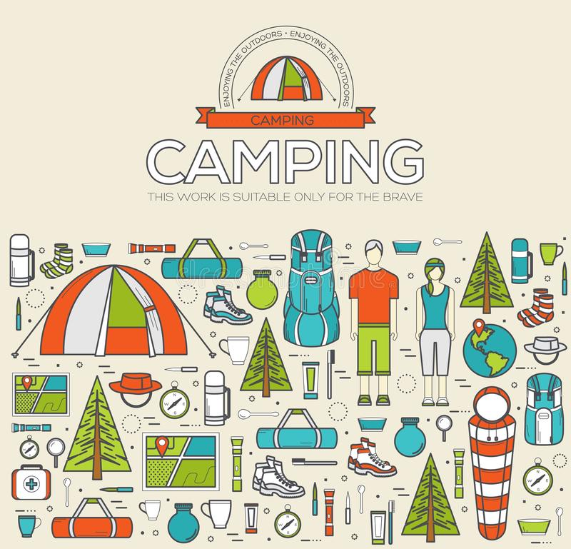 Camping equipment set infographics template concept. Icons for your product or design, web and mobile applications. Vector flat i stock photo