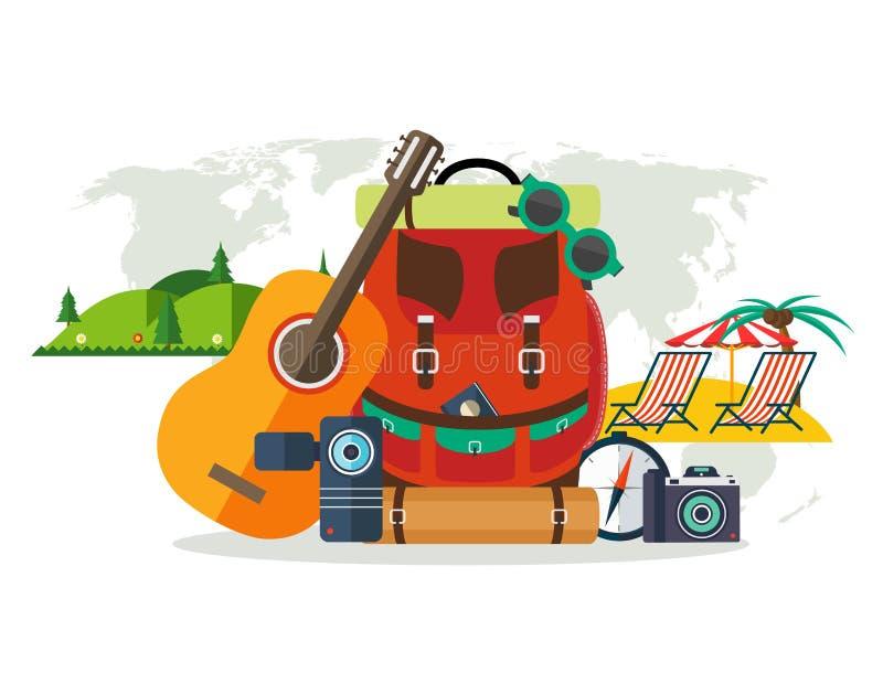 Camping equipment, summer vacation, beach rest stock illustration
