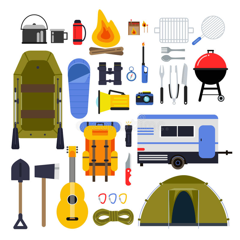 Camping equipment for travel. Hiking accessories vector icon set in flat style royalty free illustration