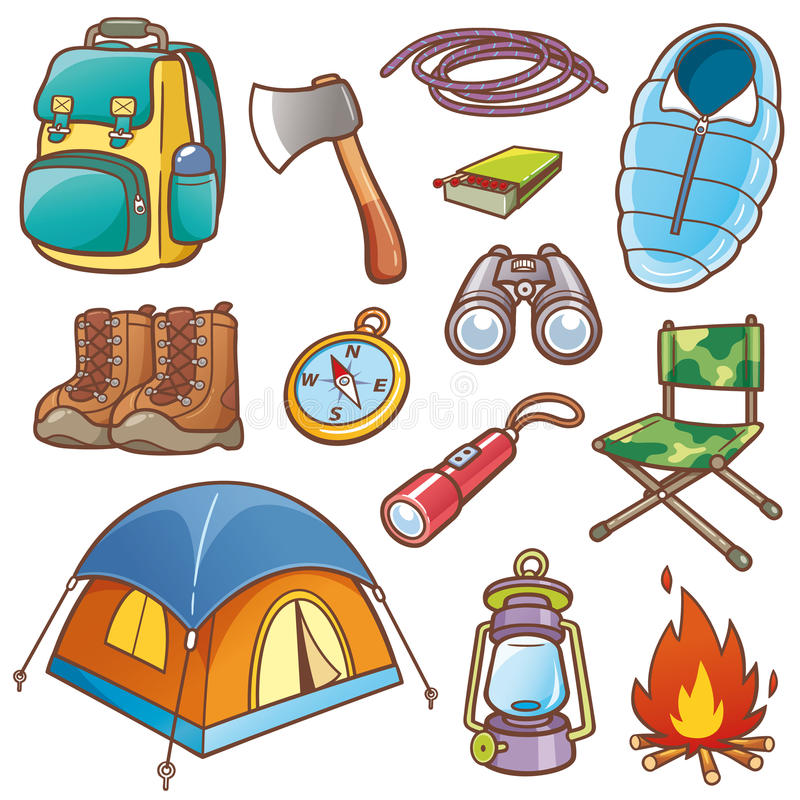 Camping equipment stock illustration