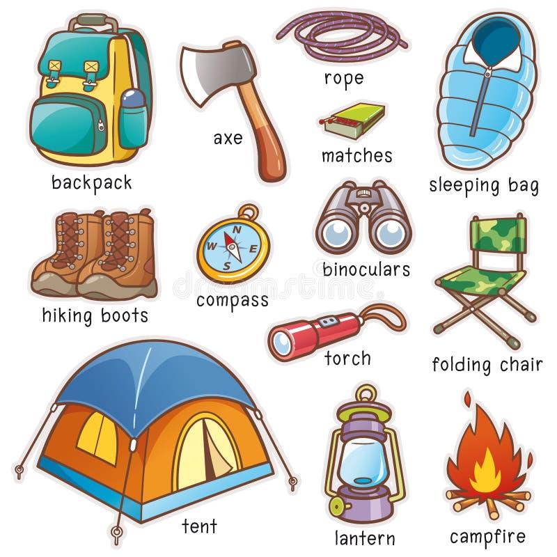 Camping equipment. Vector illustration of Cartoon Camping equipment vocabulary