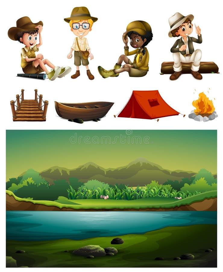 Camping et beaucoup d'enfants illustration stock