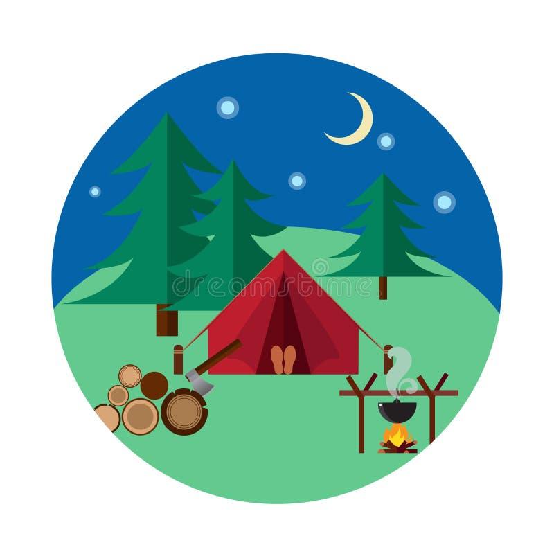 Camping et hausse de forêt illustration libre de droits