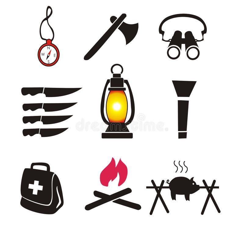 Camping et hausse du vecteur d'ensemble d'icône illustration de vecteur