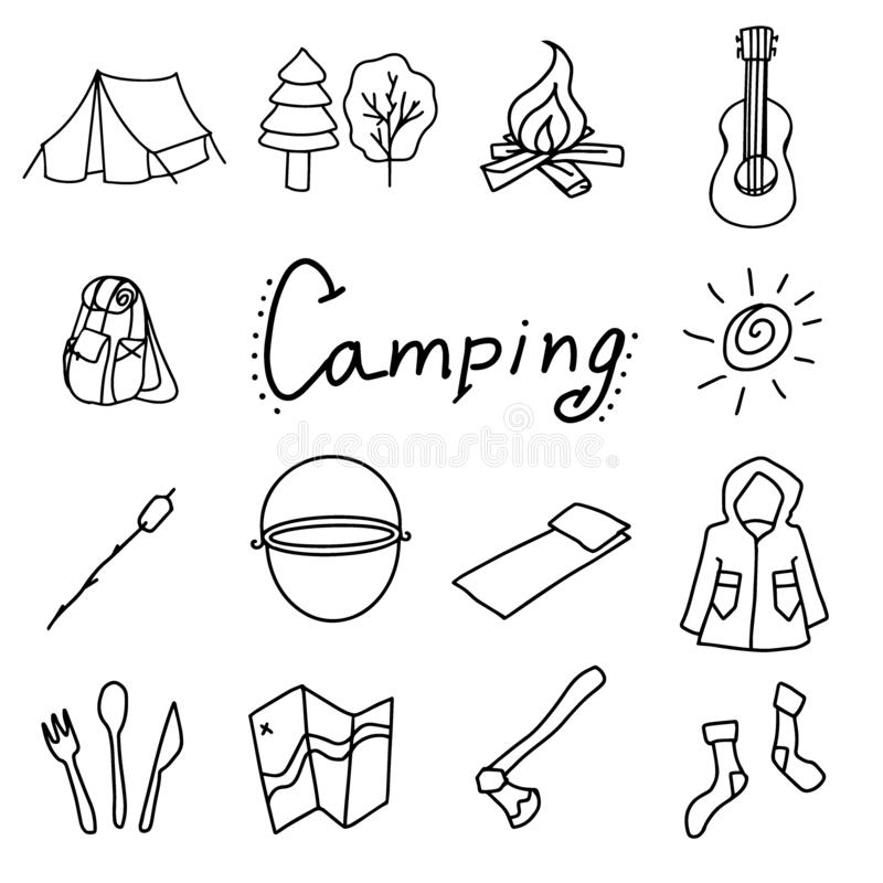 Camping et illustration extérieure de vecteur, objets d'isolement illustration stock