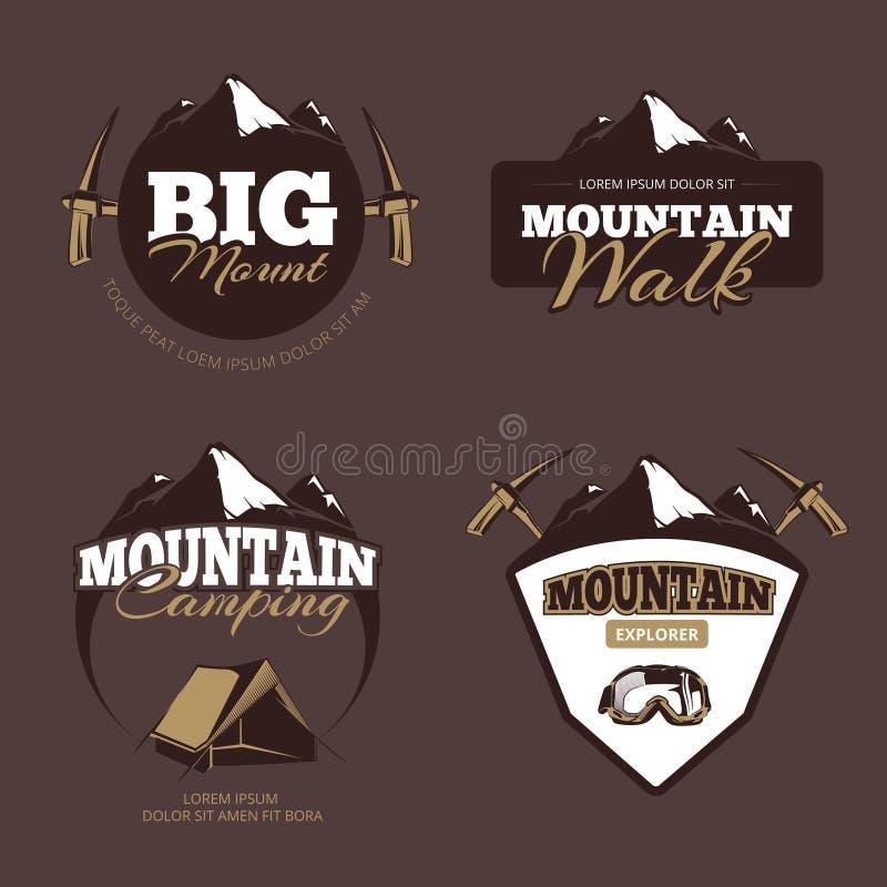 Camping extérieur de montagne, emblèmes de vecteur d'alpinisme, labels, insignes, logos réglés illustration libre de droits