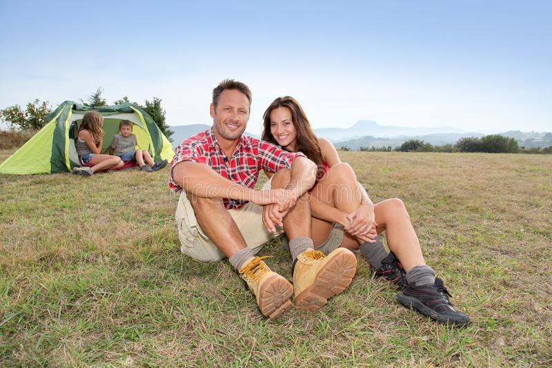 Camping In Family Stock Photos
