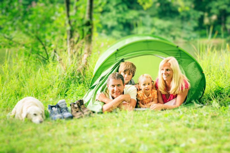 Camping Family stock photo
