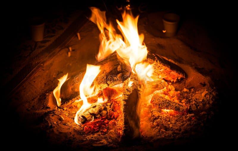 Camping fire stock photos