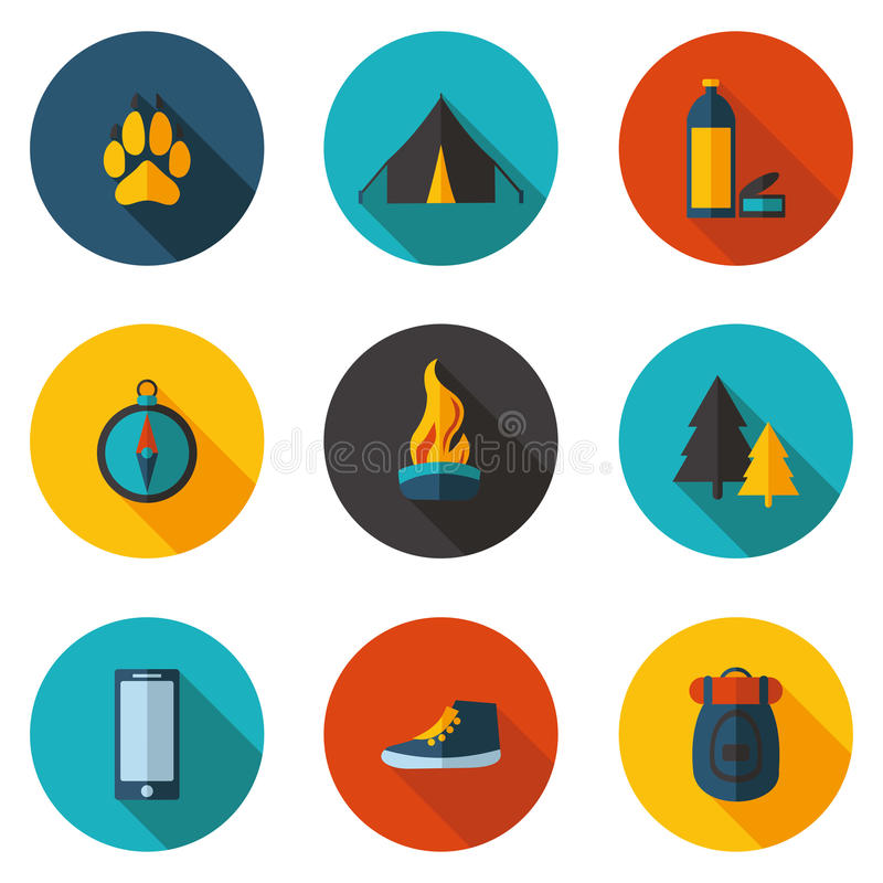Camping flat icons in vector format stock illustration