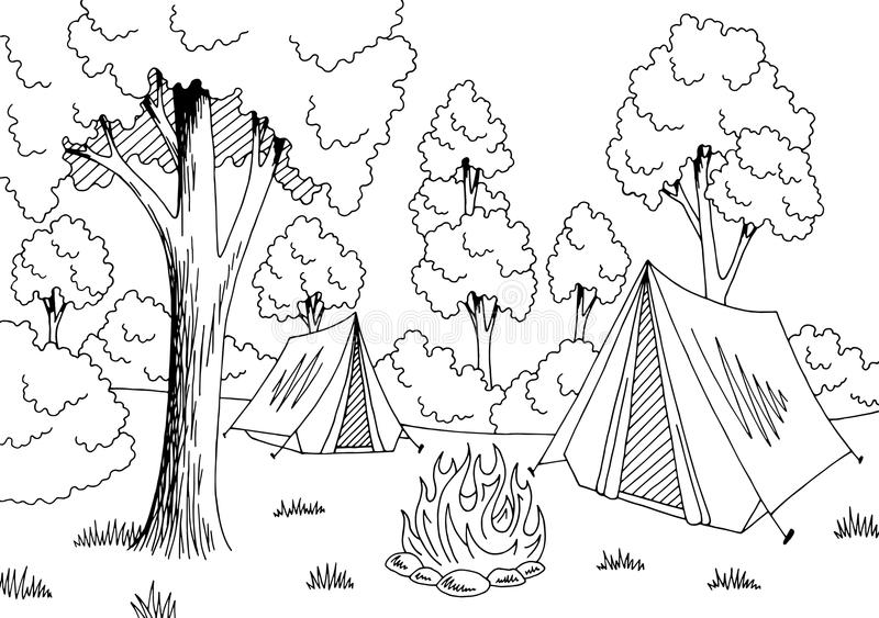 Camping forest graphic black white landscape sketch illustration vector. Camping forest graphic black white landscape sketch illustration stock illustration