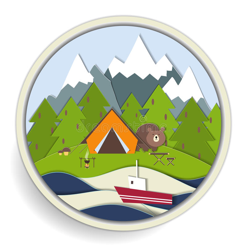 Camping and forest recreation badge stock illustration