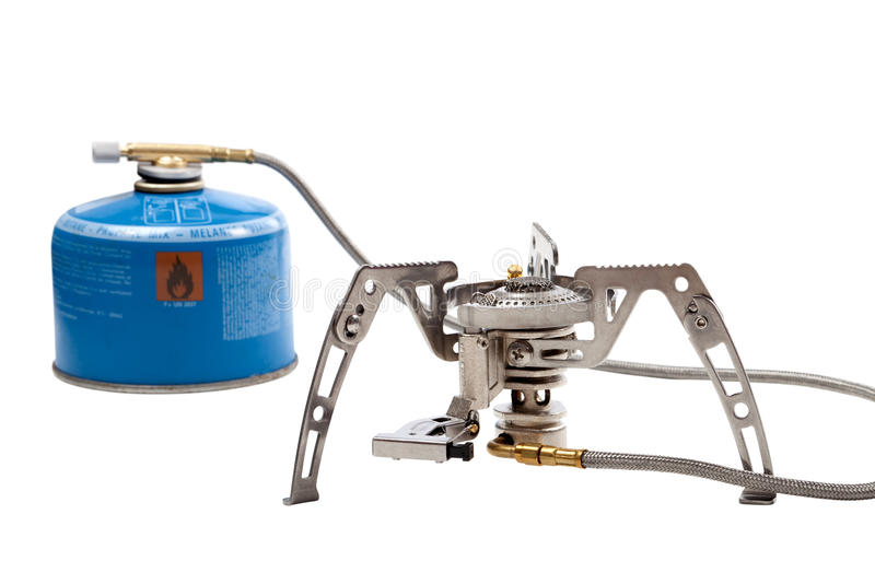 Camping gas stove with cartridge stock photography