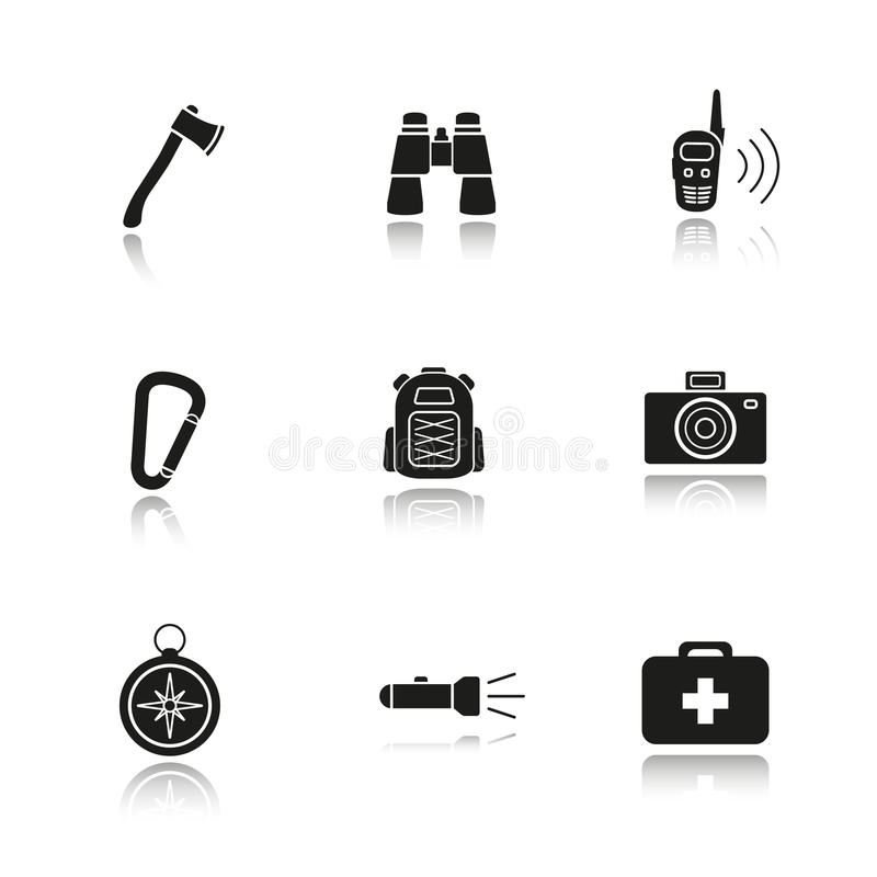 Camping gear drop shadow black icons set vector illustration