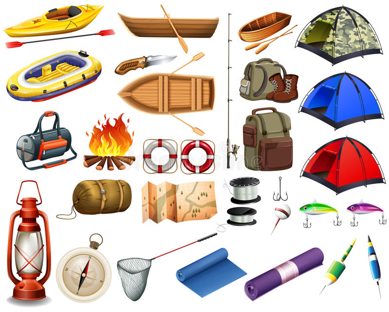 Camping gears and boats royalty free illustration