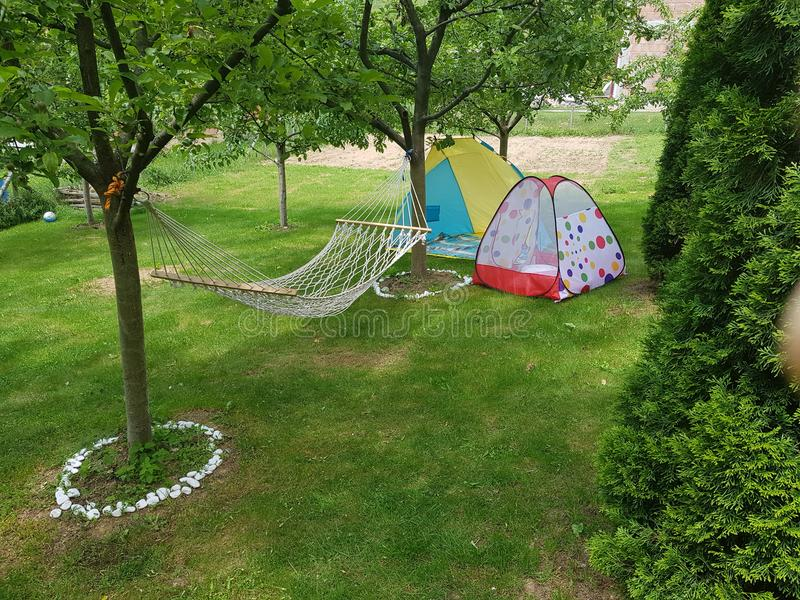 Camping on grass stock photography