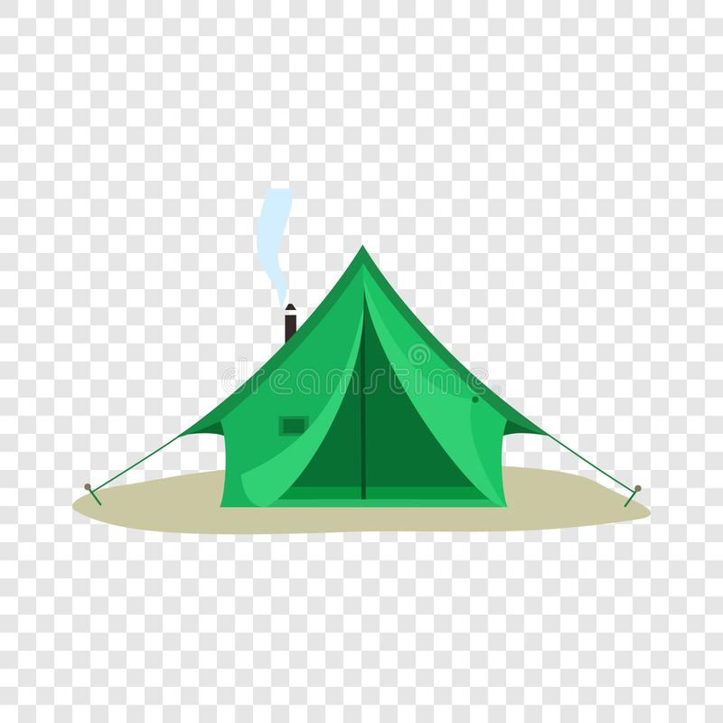 Camping green tent icon, flat style vector illustration