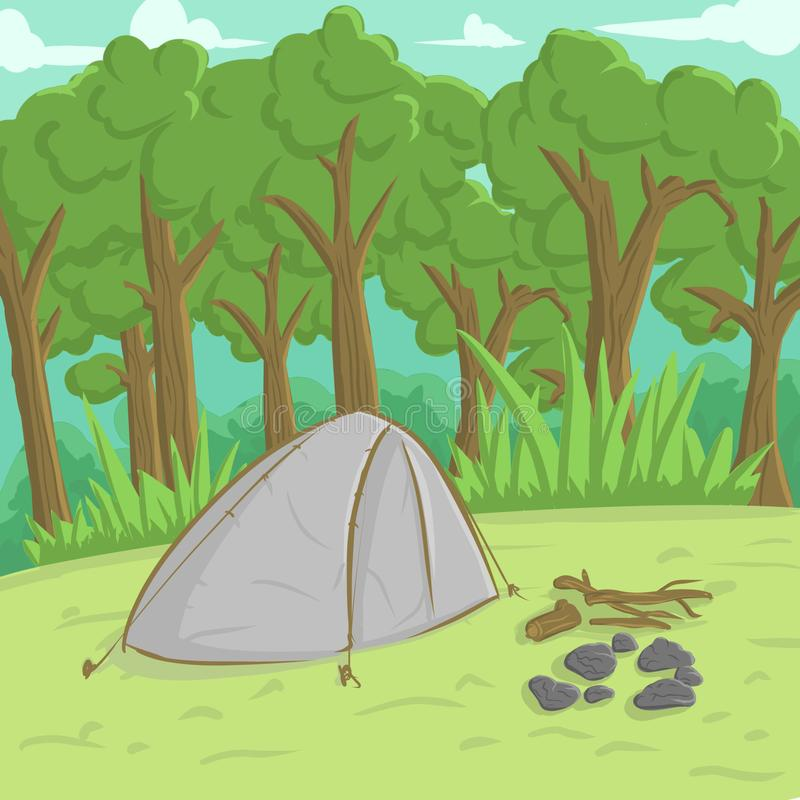 Camping Ground. Nature Camping Ground royalty free illustration