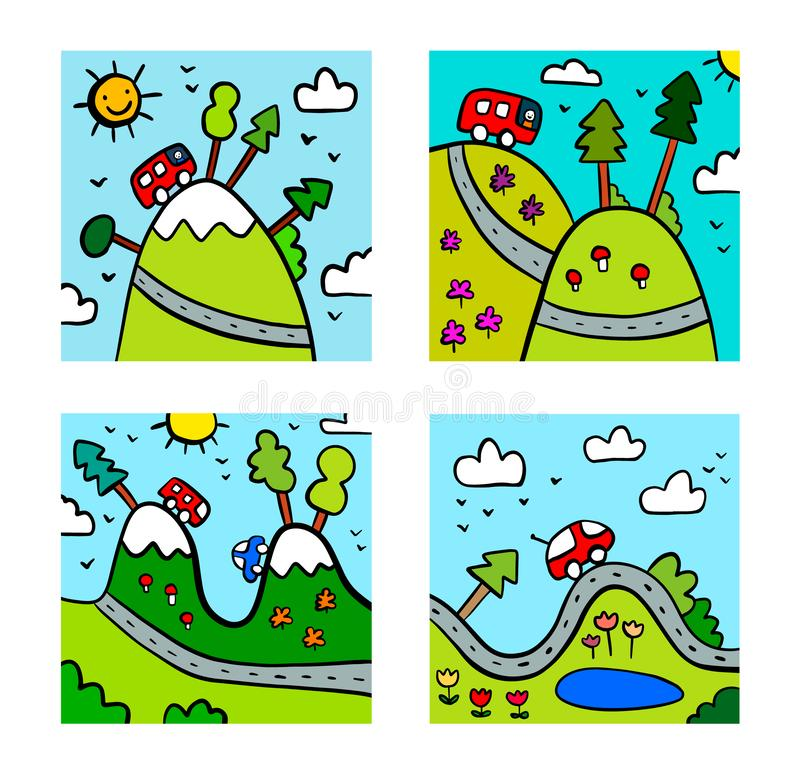 Camping hand drawn set of colorful illustrations. Minimalism for kids room stock illustration